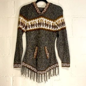 Boho Alpaca Wool Hooded Pullover w/Fringe Sz XS